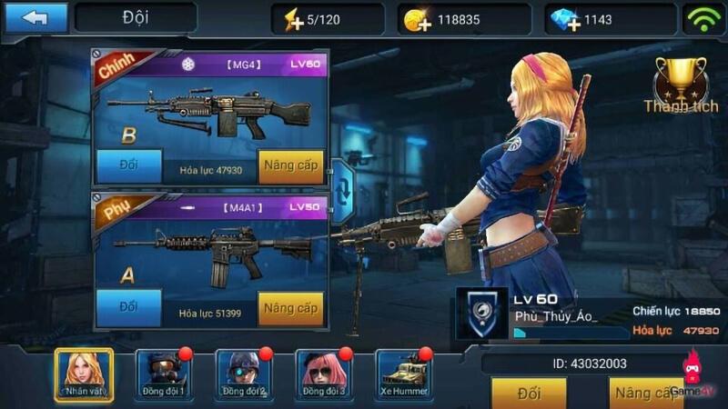 Hệ thống vũ khí, trang bị trong game