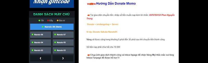 Nạp thẻ Naruto Bản Sắc Ninja qua MoMo